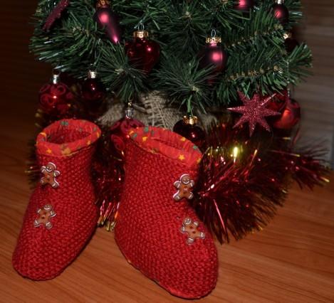 chaussons de bébé en tricot Noël