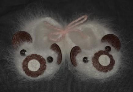 chaussons bébé en poil de lapin