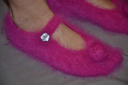 Chaussons pour femme en angora