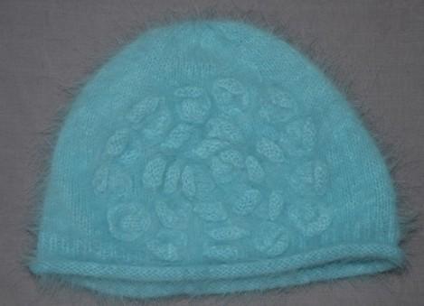 bonnet fleur bleue en angora