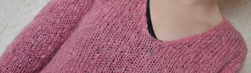 Mon pull col V en mohair (modèle de la Droguerie) - Des Tricots Tres Mimie 92ab1ca4bf5