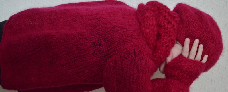 ensemble rose en mohair